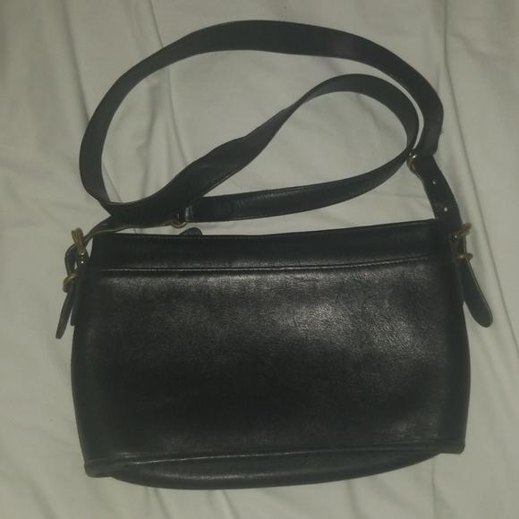 Coach Handbags - Coach Vintage Equestrian Black Leather Purse